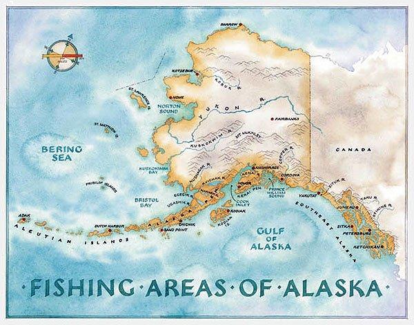 Mapa pesca Alaska