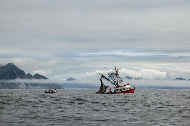Paisaje de pesca Alaska Seafood