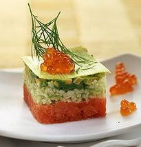 Tartar de salmón con sus huevas